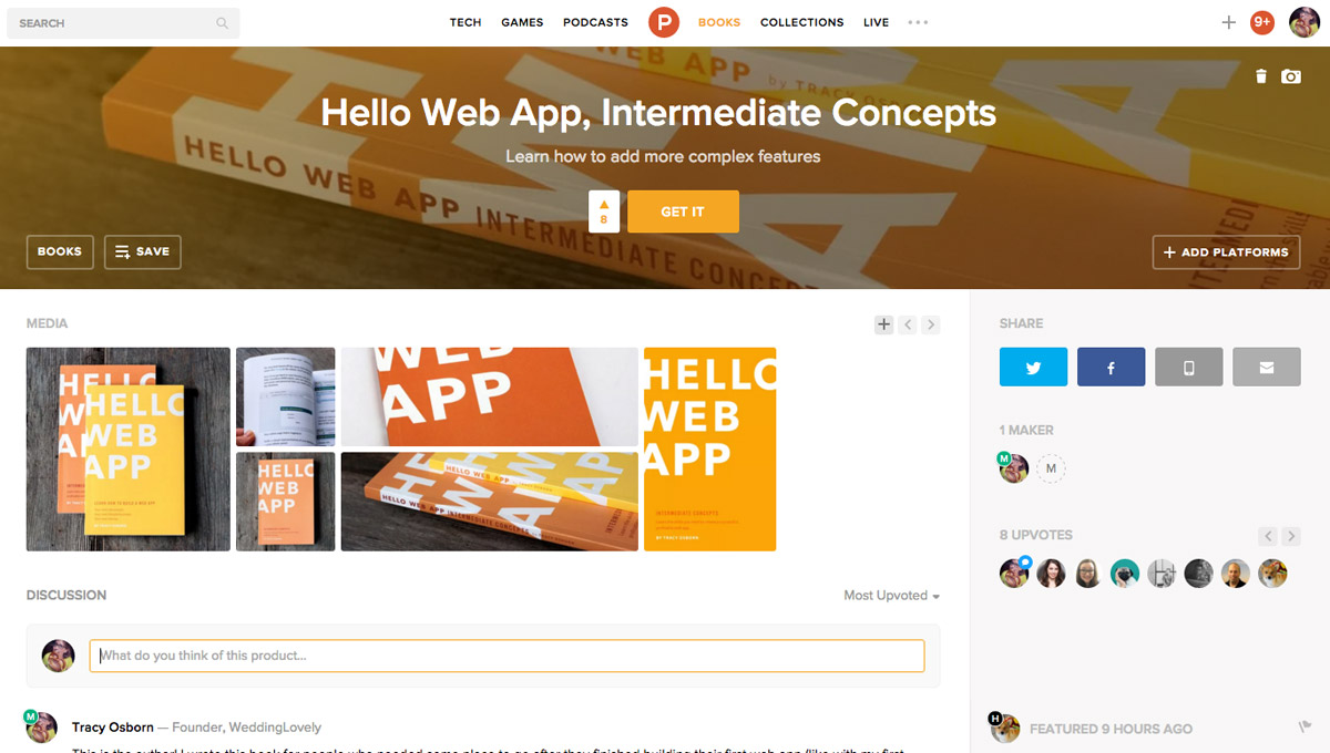 Hello Web App Intermediate Concepts is on Product Hunt today!
