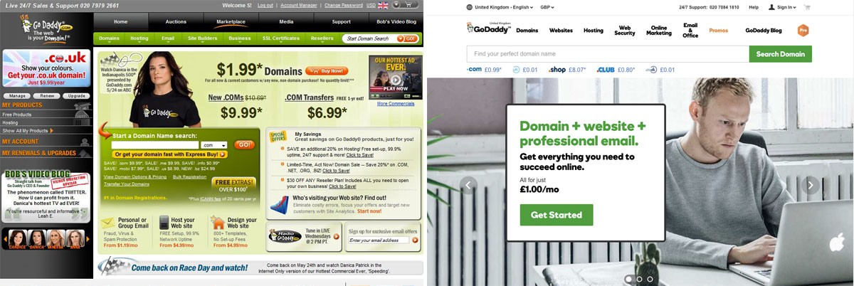 GoDaddy before and after