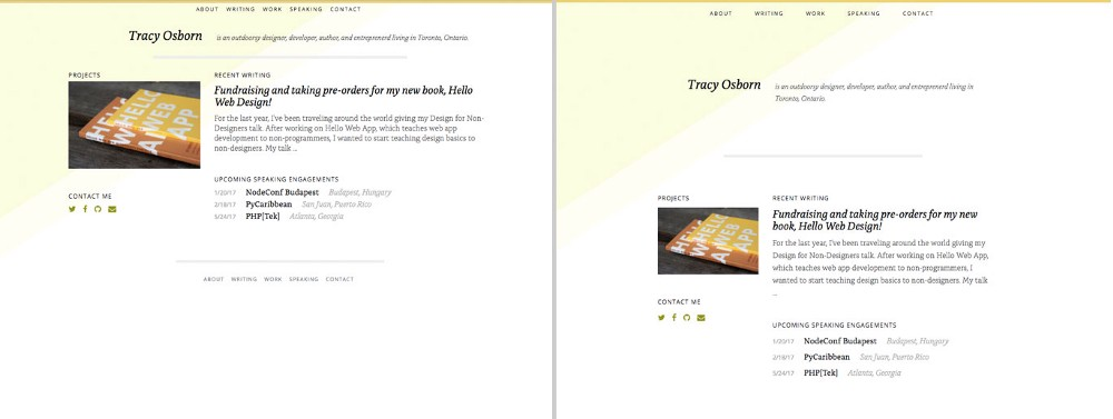 Before and after adding whitespace to my personal website.
