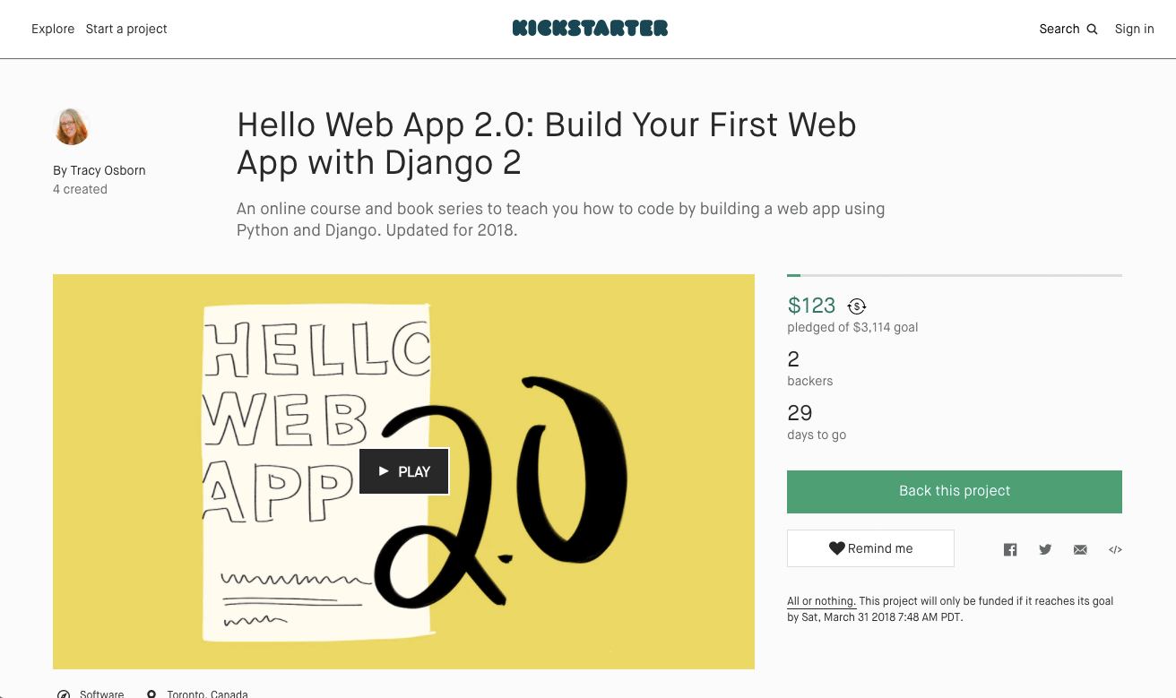 Hello Web App 2.0 on Kickstarter