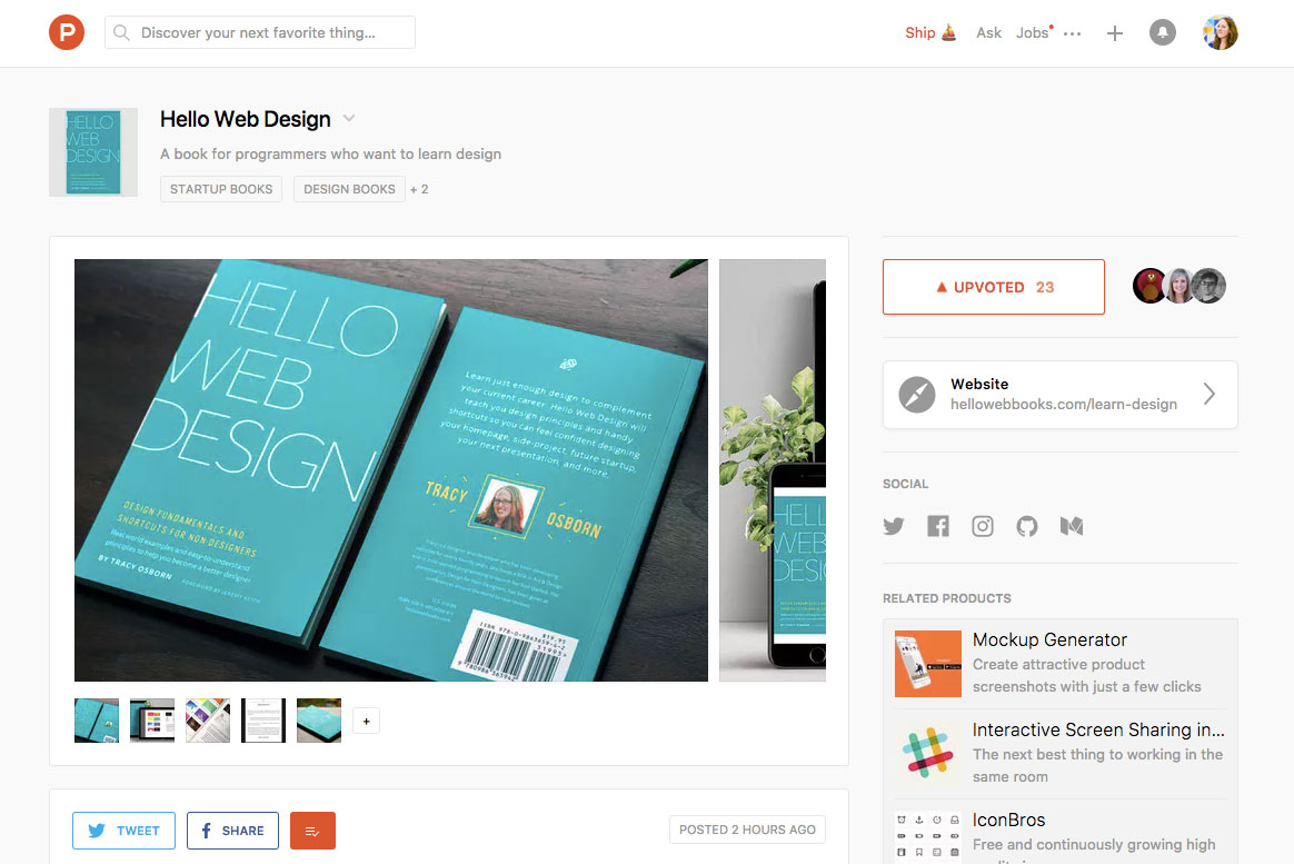 Hello Web Design is on Product Hunt today!